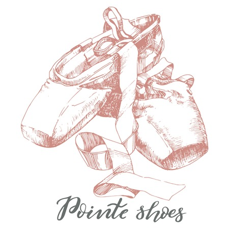 Illustration, hand drawn pair of well worn ballet pointe shoes. Stock Illustratie