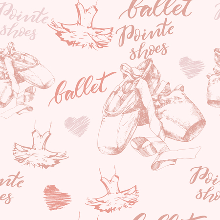 Seamless background with hand drawn ballet pointed shoes Vector illustration.