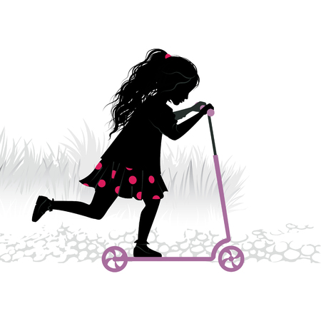 Silhouette of little girl on kick-scooter. Imagens - 97129313