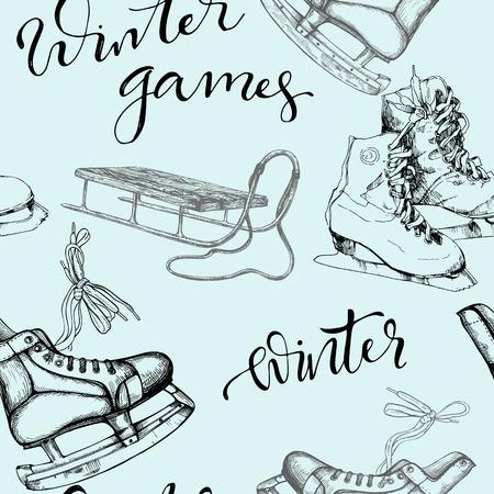 Seamless background with sketch ice skates illustration. Ilustração