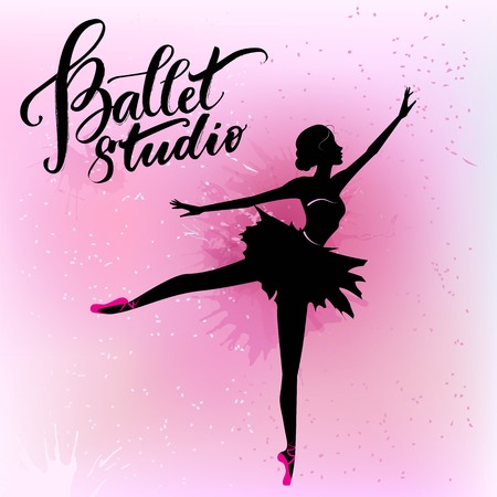 Silhouette of young ballerina 일러스트