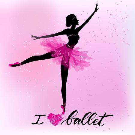 Silhouette of young ballerina Vectores