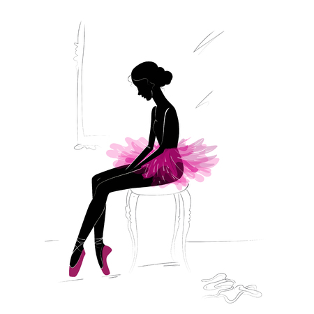 Silhouette of young ballerina isolated on plain background Ilustração