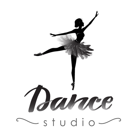Dance studio logo with young ballerina