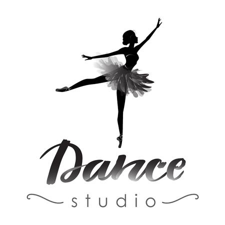 Dance studio logo with young ballerina