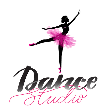 Logo, hand written sign for ballet or dance studio. Silhouette of young dancer and modern lettering. Can be used for logo, signage, posters and advertising your business, Vector illustration, sketch. Stock Illustratie