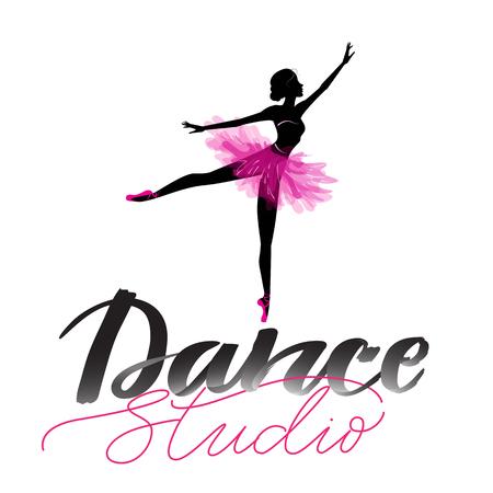 Logo, signe écrit à la main pour le ballet ou le studio de danse. Silhouette de jeune danseur et lettrage moderne. Peut être utilisé pour le logo, la signalisation, les affiches et la publicité de votre entreprise, illustration vectorielle, croquis. Logo