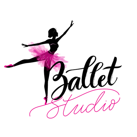Logo, hand written sign for ballet or dance studio. Silhouette of young dancer and modern lettering. Can be used for logo, signage, posters and advertising your business, Vector illustration, sketch. Ilustração