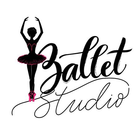 Dance studio logo with young ballerina.