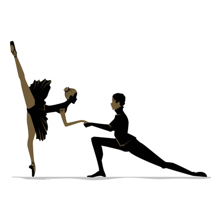Silhouette of duet young dancers