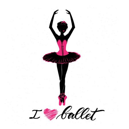 Silhouette of young ballerina Ilustração