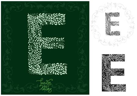 Leaves alphabet, Letter E