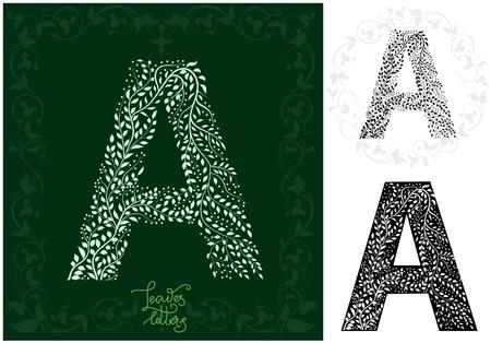 Leaves alphabet, Letter A Ilustração