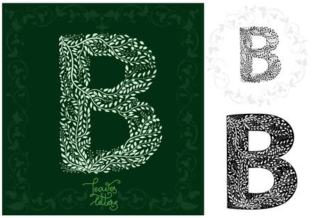 Leaves alphabet, Letter B Ilustração