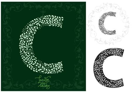 Leaves alphabet, Letter Ð¡ Ilustração