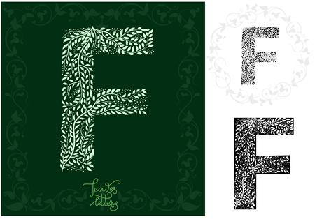 Leaves alphabet, Letter F Imagens - 97122339