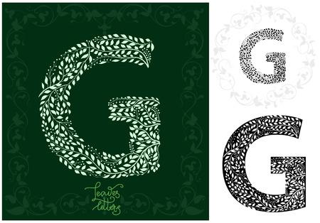 Leaves alphabet,  Letter G Ilustração