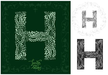 Leaves alphabet,   Letter H
