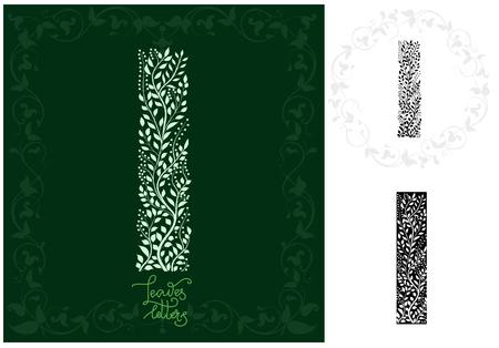 Leaves alphabet, Letter I Ilustração