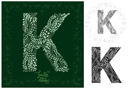 Leaves alphabet, Letter K