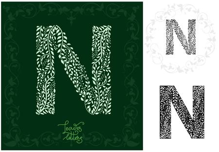 Leaves alphabet, Letter N