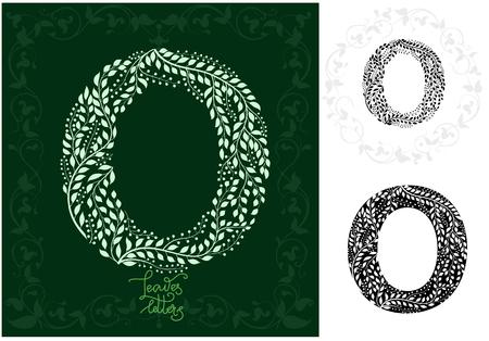 Leaves alphabet, Letter O Ilustração