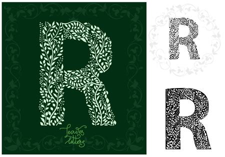 Leaves alphabet, Letter R