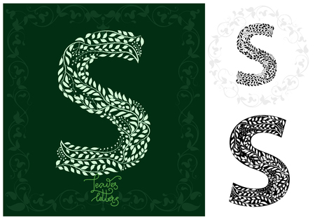 Letter S made with decorative leaves design Imagens - 97103476