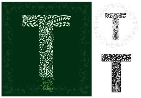 Leaves alphabet, Letter T