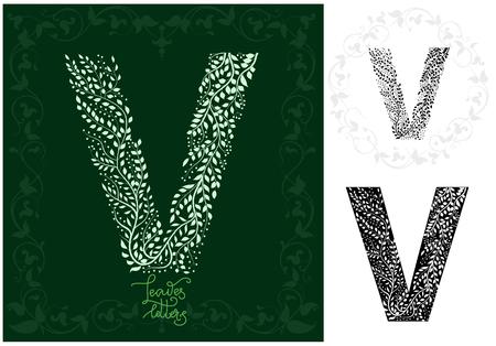 Leaves alphabet, Letter V Ilustração