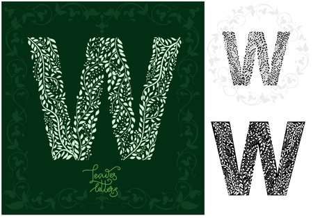 Letter W made with decorative leaves . Can be use as initial letter, monogram, logotype.  Variations on black and isolated on white backgrounds. Variant with frame and round frame, vector illustration. Ilustração
