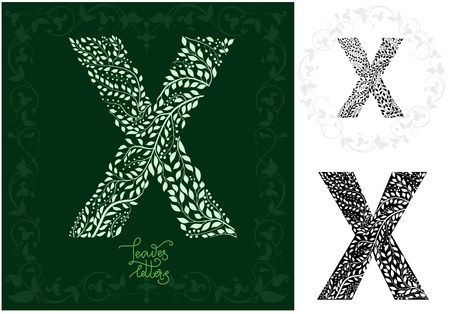 Letter X made with decorative leaves . Can be use as initial letter, monogram, logotype.  Variations on black and isolated on white backgrounds. Variant with frame and round frame, vector illustration. Ilustração