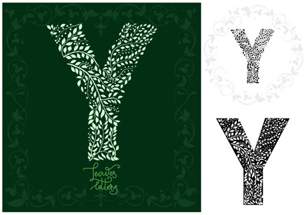 Letter Y made with decorative leaves design Imagens - 97103479