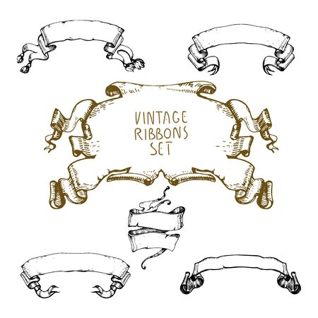 Hand drawn vintage waving ribbons collection.Cool old stroked style. Vector drawing. Imagens - 98088488