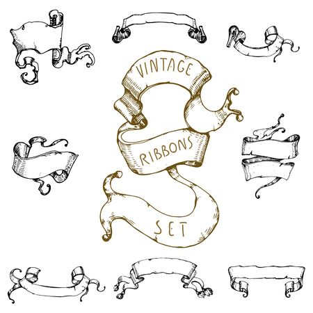 Hand drawn vintage waving ribbons collection.Cool old stroked style. Vector drawings.