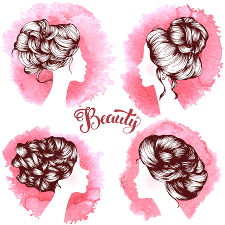 Woman beautiful silhouettes with hair style