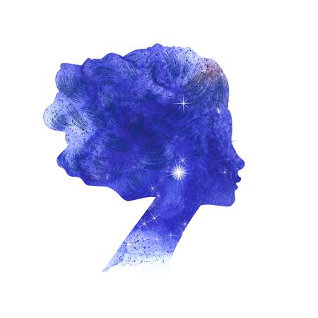 Watercolor woman silhouette