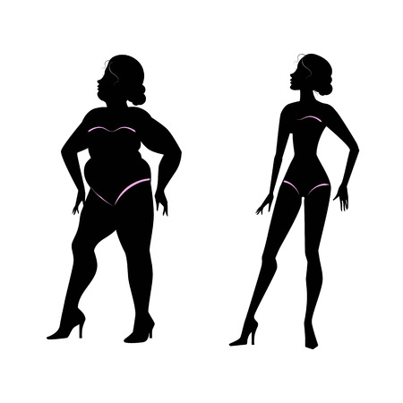 Fat woman and slender woman silhouettes