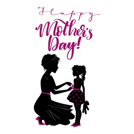 Happy Mother's Day lettering with mother and child. Vector illustration. Imagens - 100263231