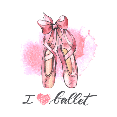 Illustration, hand drawn  pair of well-worn ballet pointes shoes Ilustração