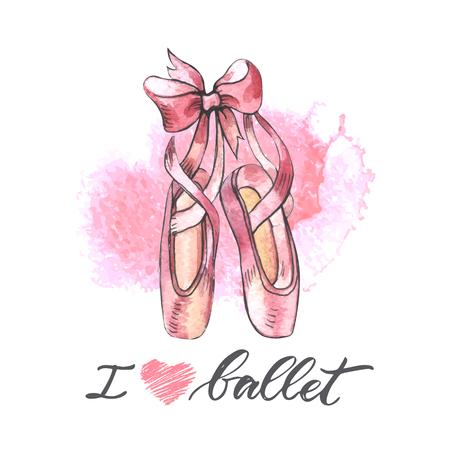 Illustration, paire de chaussures de pointes de ballet bien portées à la main