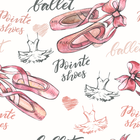 Seamless background with hand drawn  ballet pointes shoes 일러스트