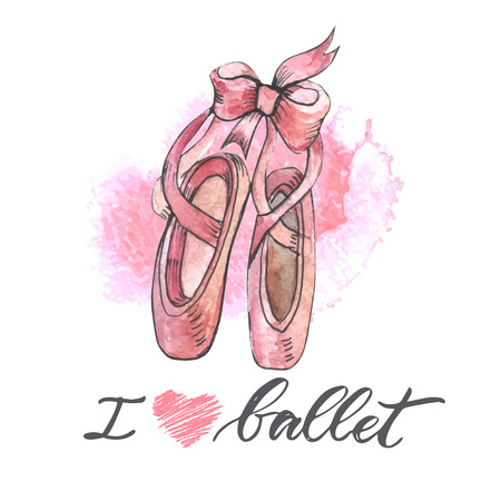 Illustration, hand drawn  pair of well-worn ballet pointes shoes Stock Photo