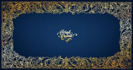 Exclusive golden floral frame Imagens - 105911684