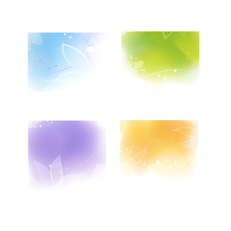 Set of four digital watercolor style colorful backgrounds Imagens - 112321383