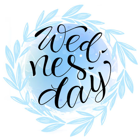 Wednesday  letteing on watercolor background Imagens - 105911693