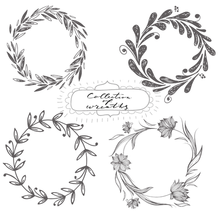Set of hand drawn vector wreaths, part of collection