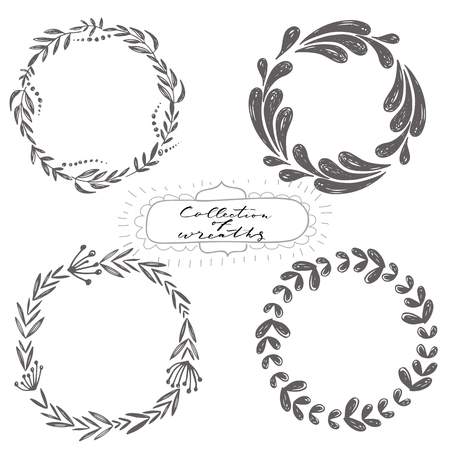 Set of hand drawn vector wreaths, part of collection Imagens - 112249133