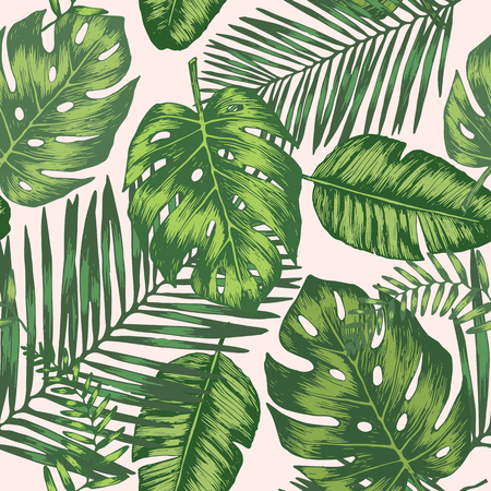 Seamless background with tropic leaves, colorful background