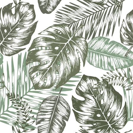 Seamless background with tropic leaves, graphic background Çizim